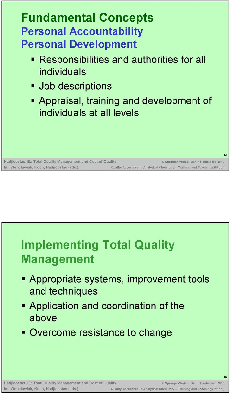individuals at all levels 14 Implementing Total Quality Management Appropriate systems,