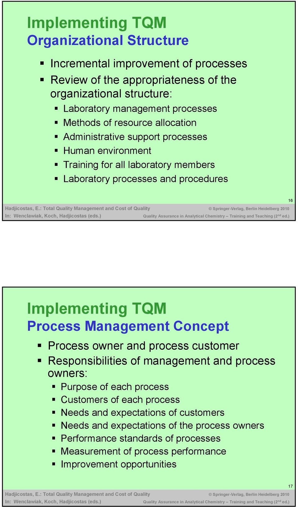 Implementing TQM Process Management Concept Process owner and process customer Responsibilities of management and process owners: Purpose of each process Customers of each