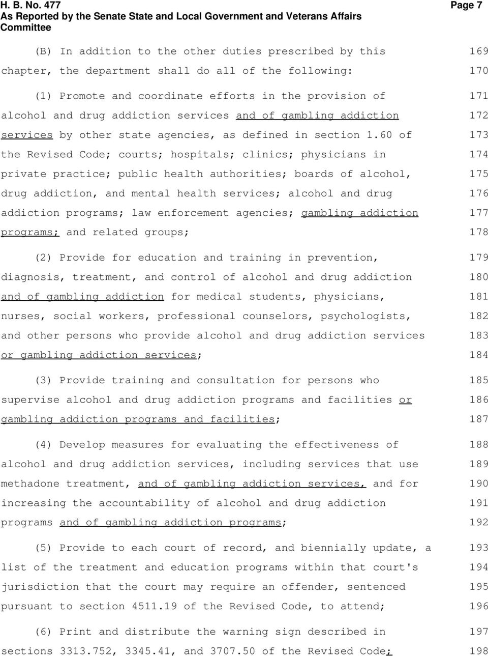 addiction services and of gambling addiction services by other state agencies, as defined in section 1.