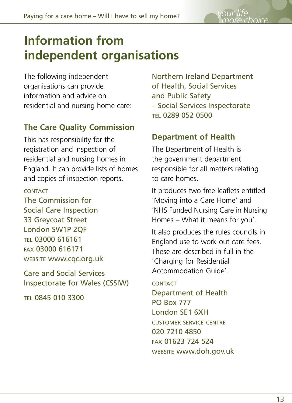 The Commission for Social Care Inspection 33 Greycoat Street London SW1P 2QF TEL 03000 616161 FAX 03000 616171 WEBSITE www.cqc.org.