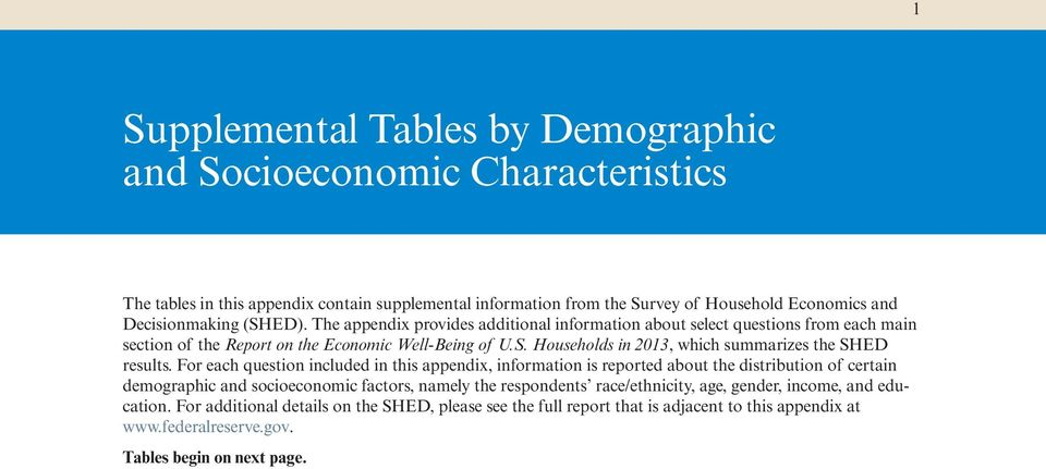 For each question included in this appendix, information is reported about the distribution of certain demographic and socioeconomic factors, namely the respondents race/ethnicity, age,