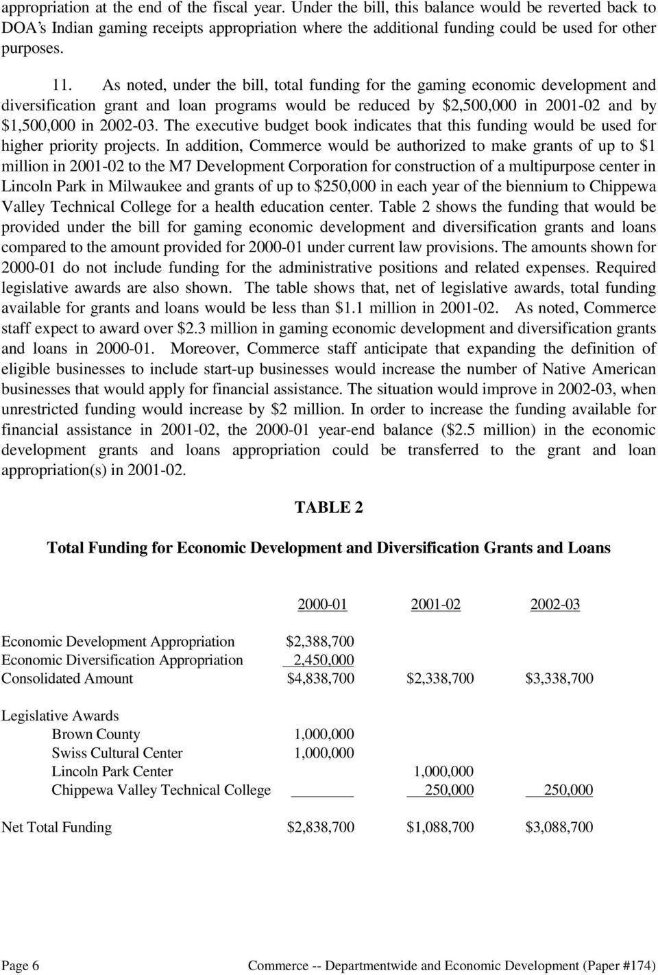 As noted, under the bill, total funding for the gaming economic development and diversification grant and loan programs would be reduced by $2,500,000 in 2001-02 and by $1,500,000 in 2002-03.