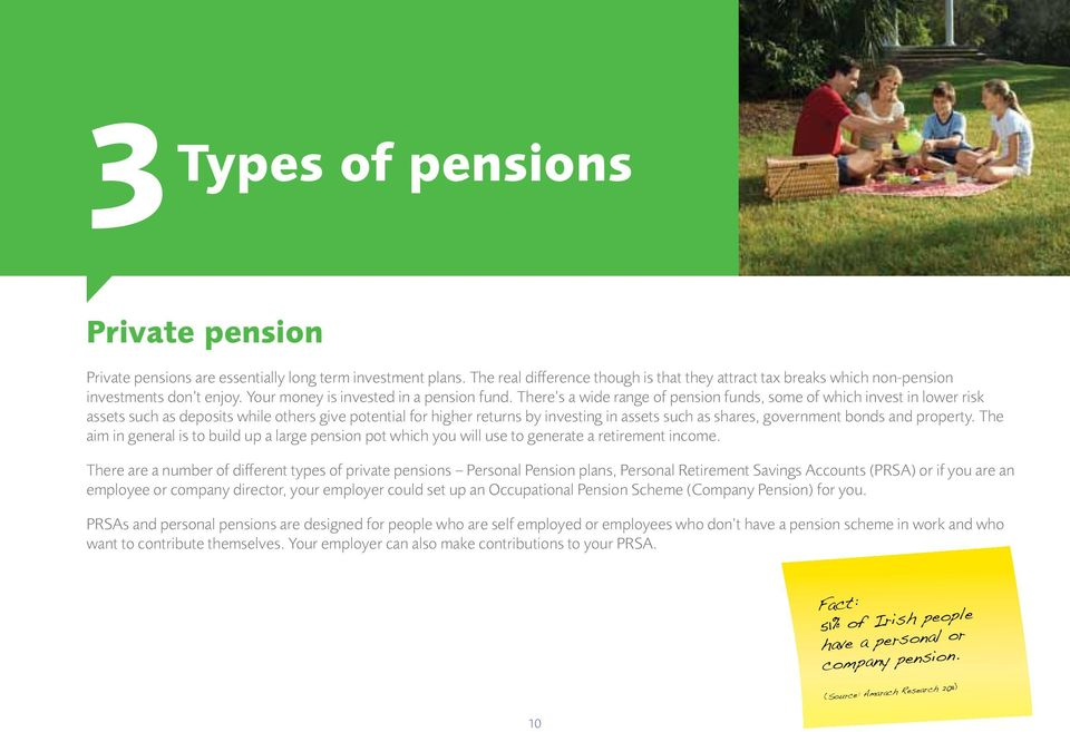 There s a wide range of pension funds, some of which invest in lower risk assets such as deposits while others give potential for higher returns by investing in assets such as shares, government