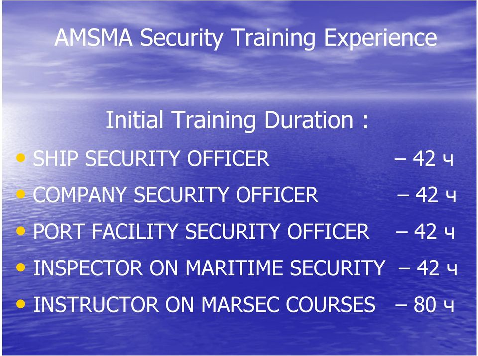 SECURITY OFFICER INSPECTOR ON MARITIME SECURITY