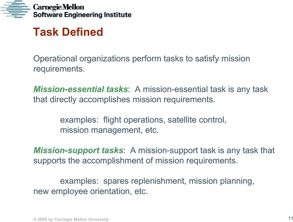 examples: flight operations, satellite control, mission management, etc.