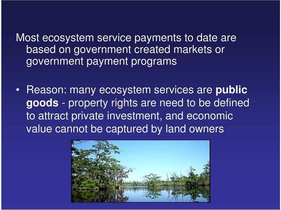 services are public goods - property rights are need to be defined to