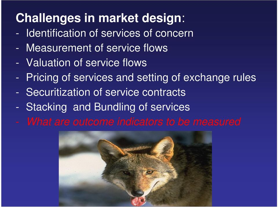 services and setting of exchange rules - Securitization of service