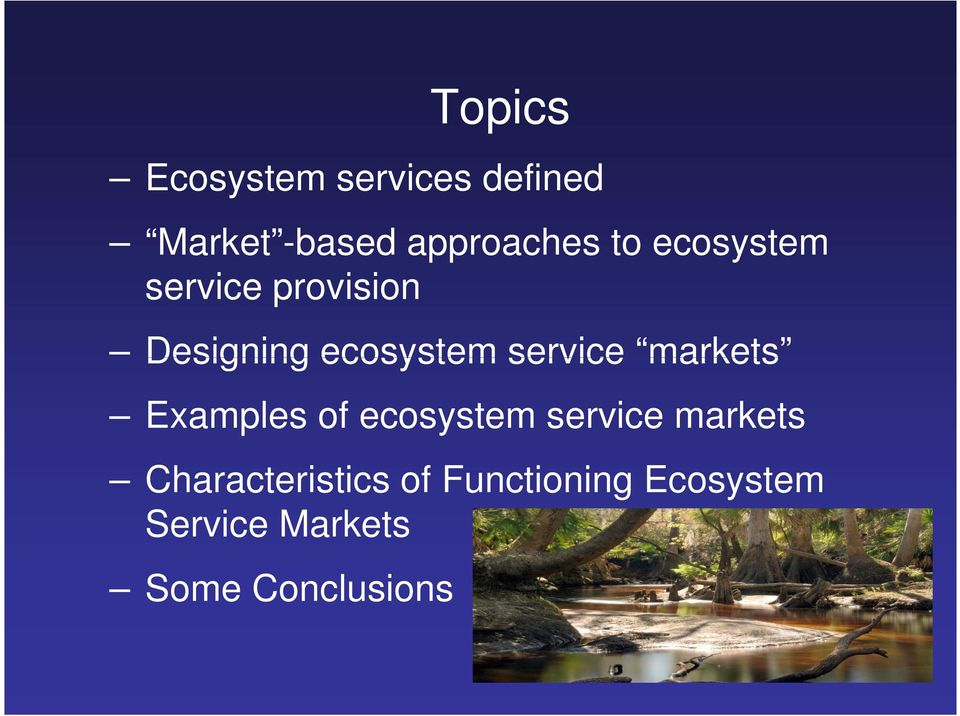 markets Examples of ecosystem service markets