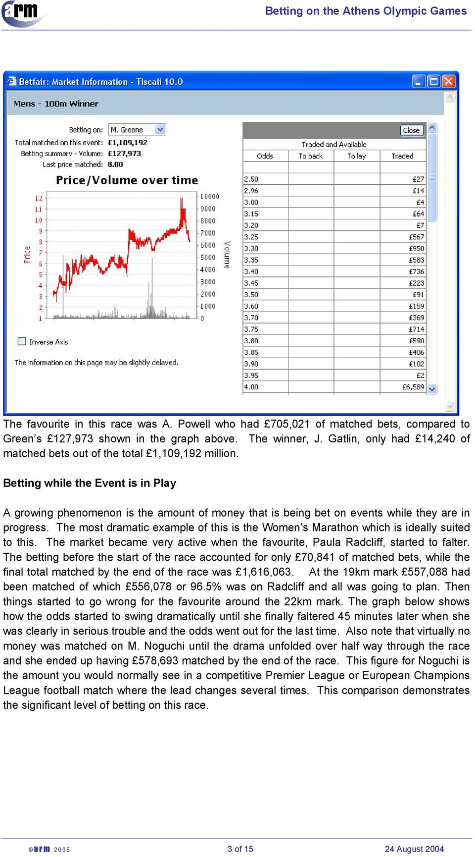 Betting while the Event is in Play A growing phenomenon is the amount of money that is being bet on events while they are in progress.