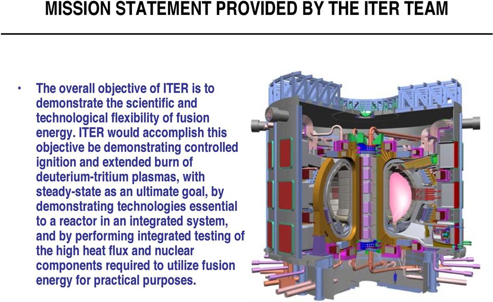 ITER would accomplish this objective be demonstrating controlled ignition and extended burn of deuterium-tritium plasmas, with