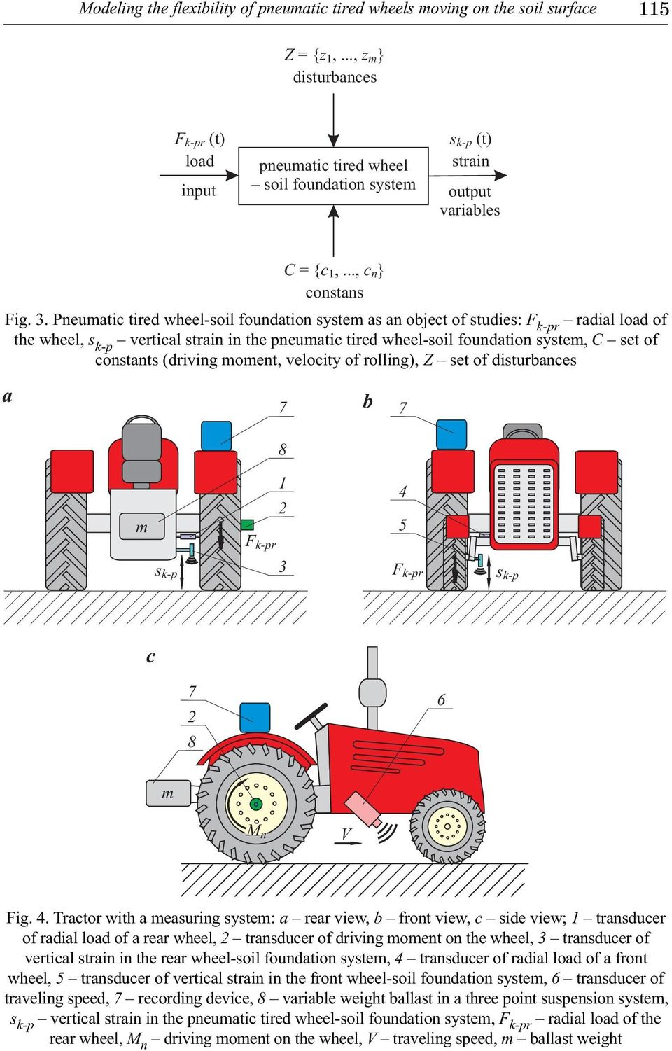 Pneumatic tired wheel-soil foundation system as an object of studies: radial load of the wheel, vertical strain in the pneumatic tired wheel-soil foundation system, C set of constants (driving
