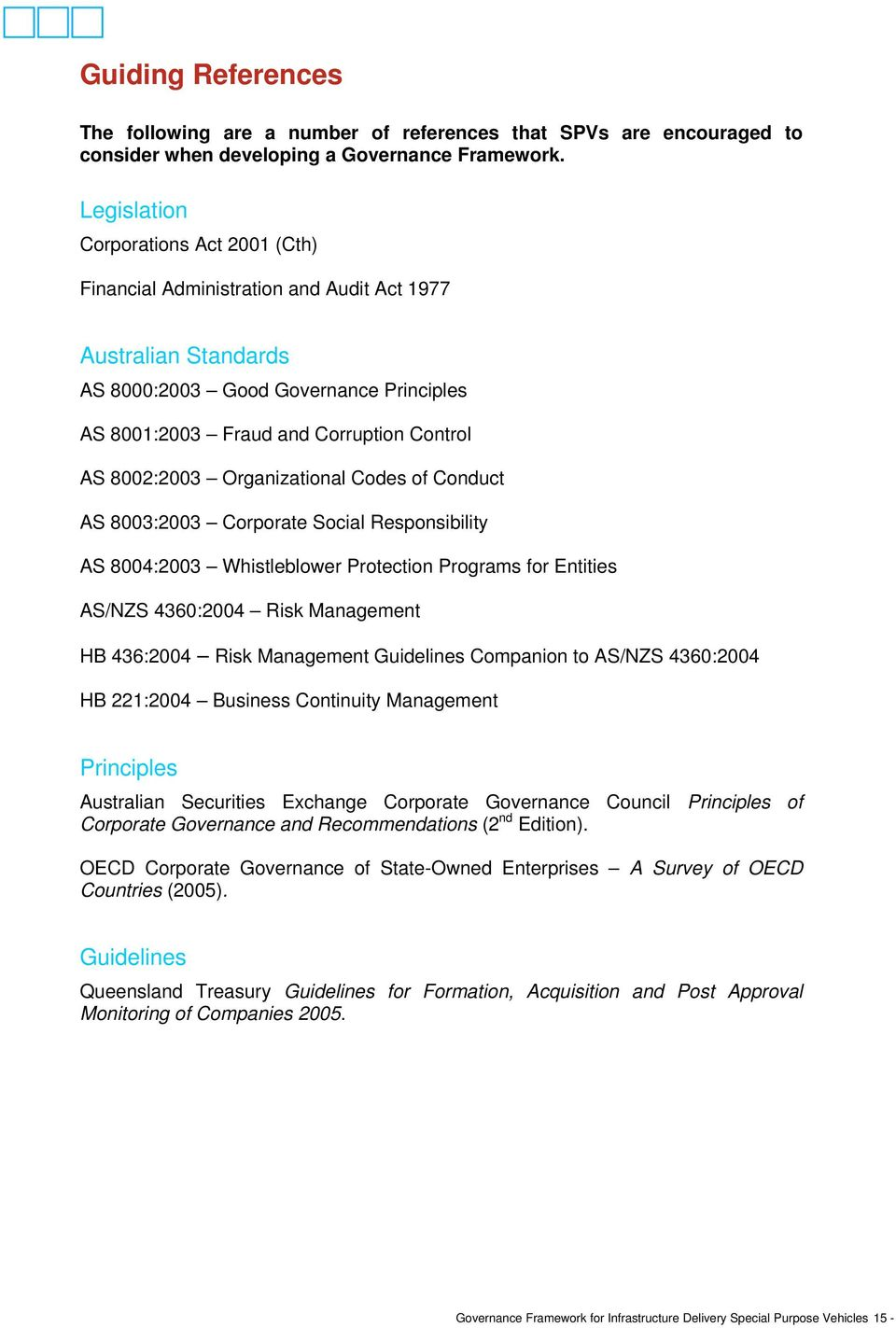 Organizational Codes of Conduct AS 8003:2003 Corporate Social Responsibility AS 8004:2003 Whistleblower Protection Programs for Entities AS/NZS 4360:2004 Risk Management HB 436:2004 Risk Management