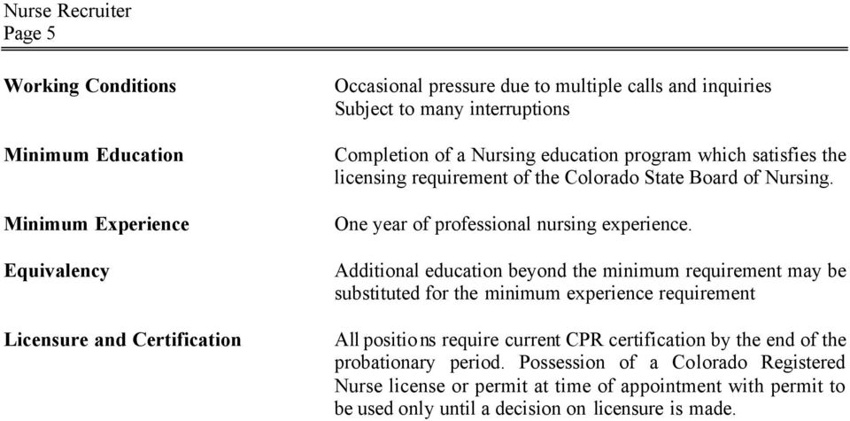 One year of professional nursing experience.