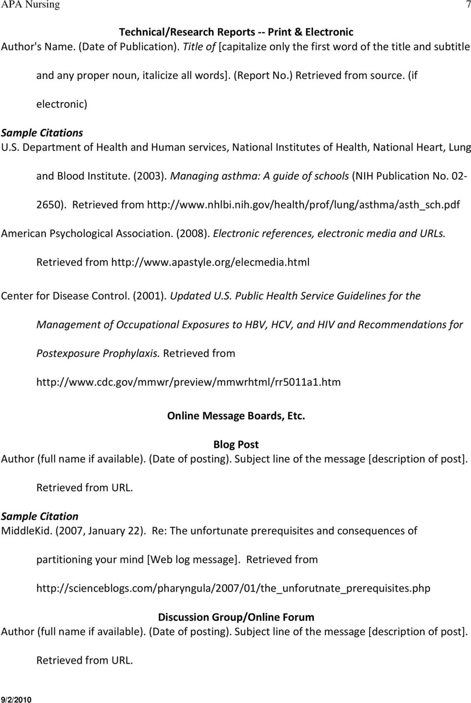Mple Citations Us Department Of Health And Human Services, National  Institutes Of Health, National