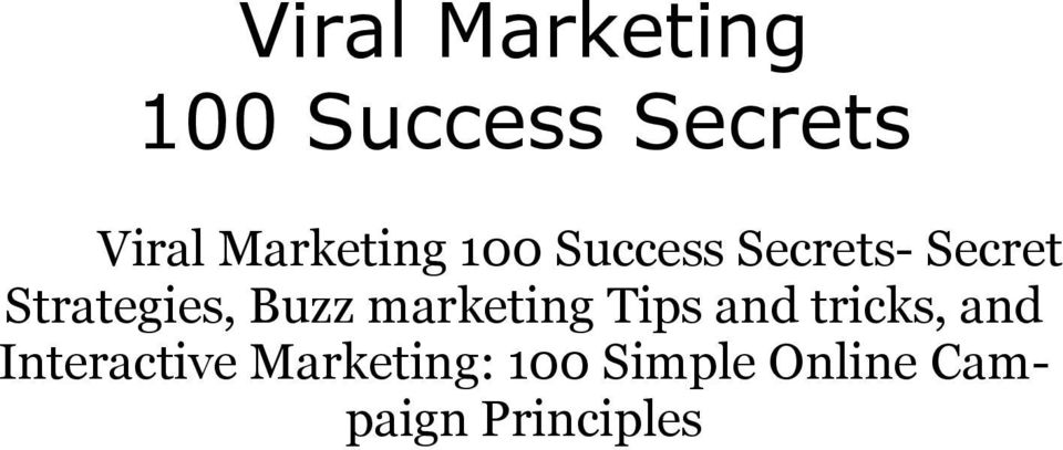 Strategies, Buzz marketing Tips and tricks,