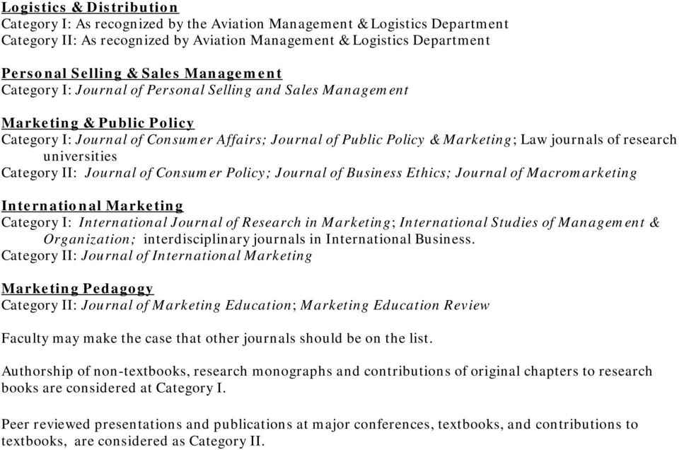 research universities Category II: Journal of Consumer Policy; Journal of Business Ethics; Journal of Macromarketing International Marketing Category I: International Journal of Research in