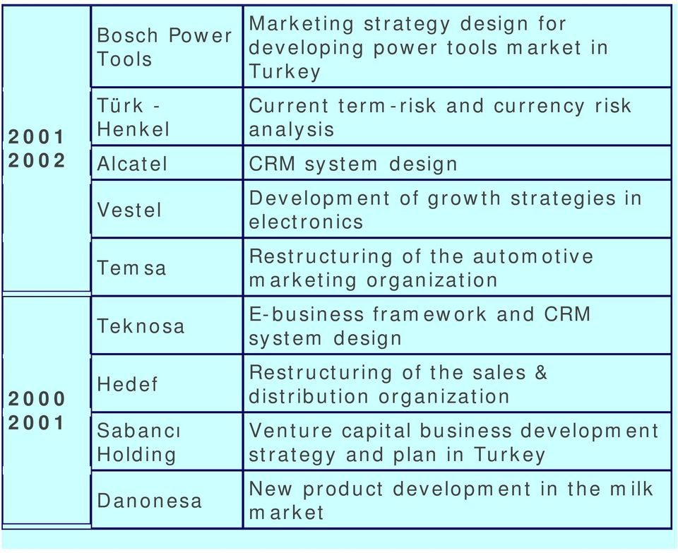 strategies in electronics Restructuring of the automotive marketing organization E-business framework and CRM system design Restructuring