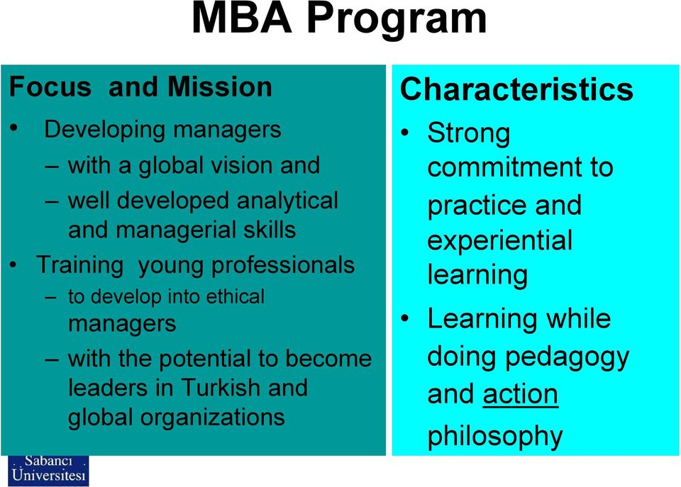 with the potential to become leaders in Turkish and global organizations Characteristics Strong