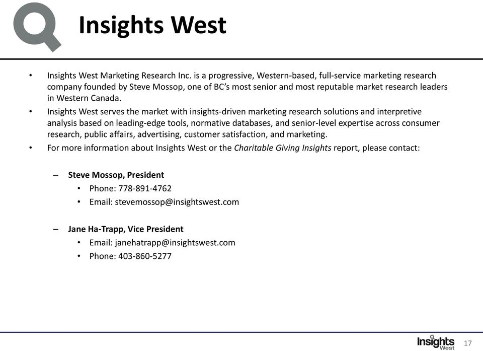 Insights West serves the market with insights-driven marketing research solutions and interpretive analysis based on leading-edge tools, normative databases, and senior-level expertise across