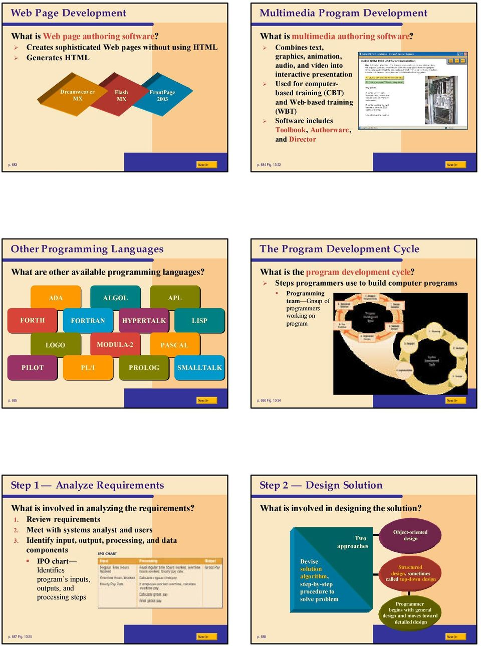 Combines text, graphics, animation, audio, and video into interactive presentation Used for computerbased training (CBT) and Web-based training (WBT) Software includes Toolbook, Authorware, and