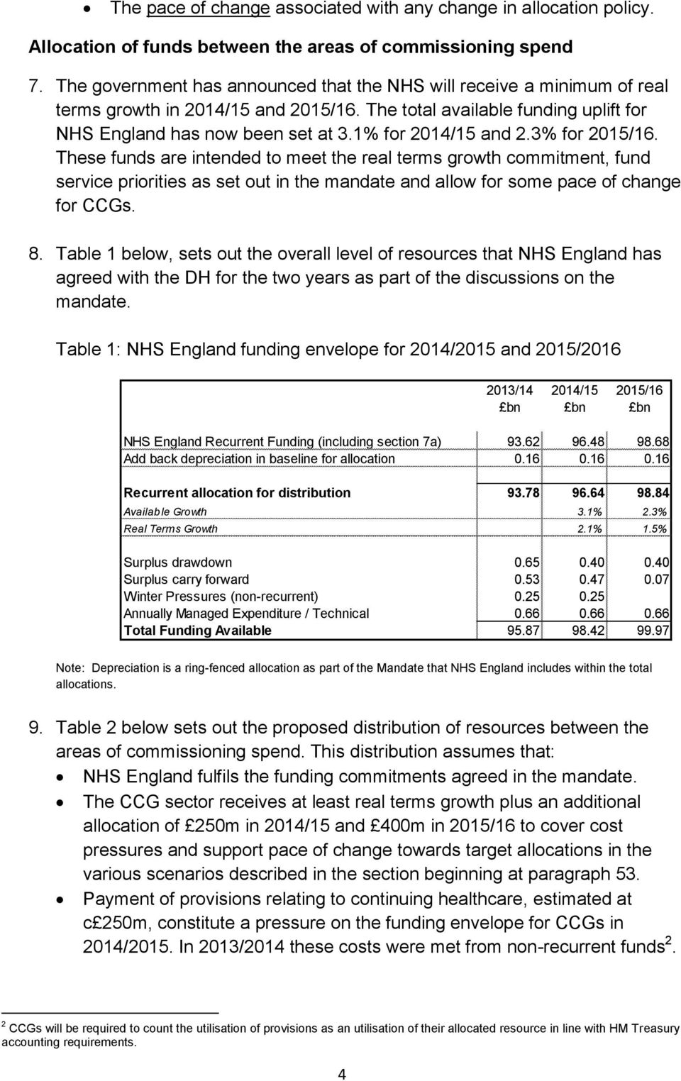 1% for 2014/15 and 2.3% for 2015/16. These funds are intended to meet the real terms growth commitment, fund service priorities as set out in the mandate and allow for some pace of change for CCGs. 8.