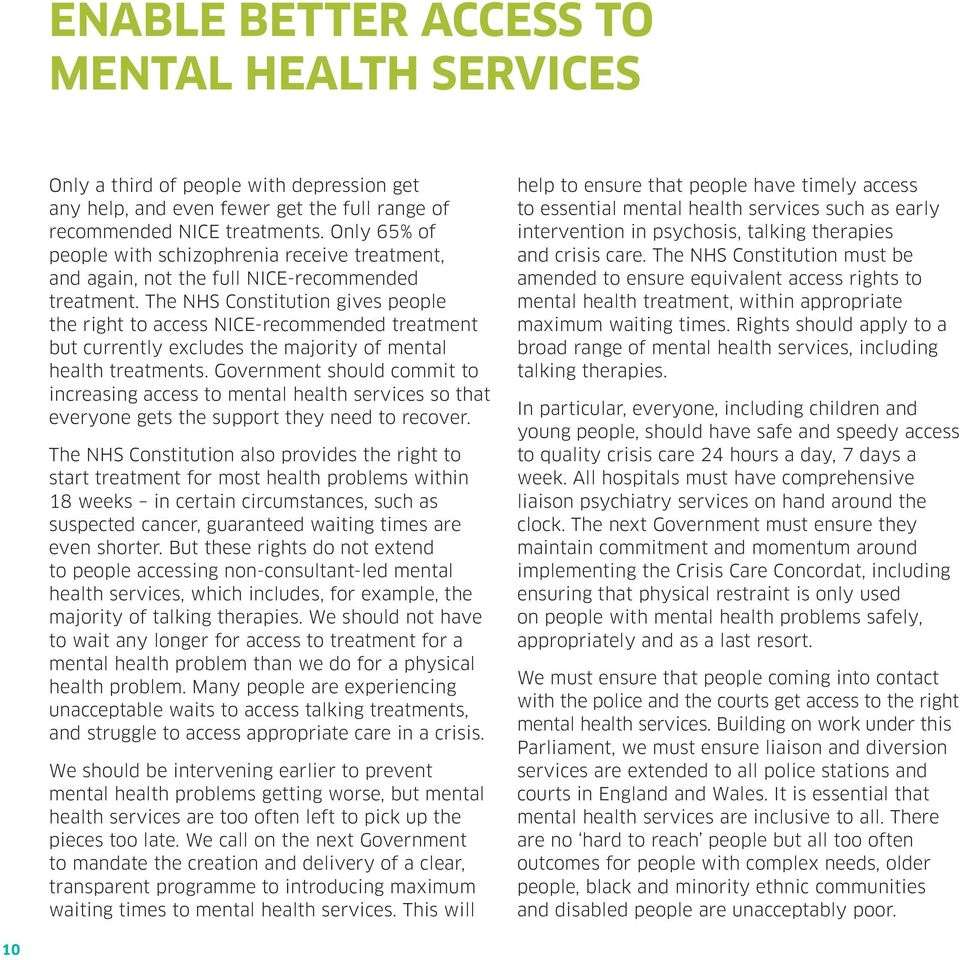 The NHS Constitution gives people the right to access NICE-recommended treatment but currently excludes the majority of mental health treatments.