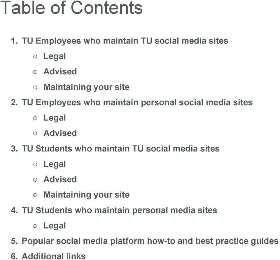 TU Employees who maintain personal social media sites Legal Advised 3.