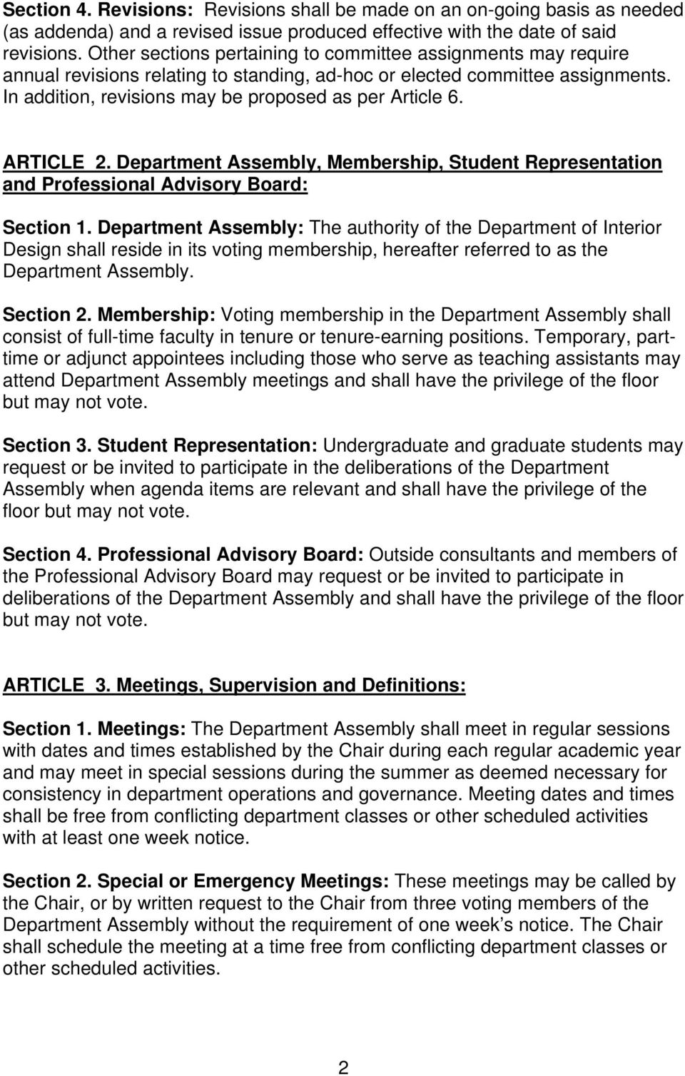 ARTICLE 2. Department Assembly, Membership, Student Representation and Professional Advisory Board: Section 1.