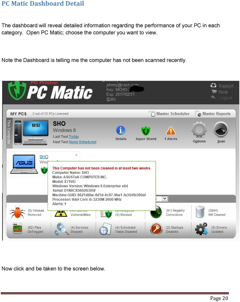 Open PC Matic; choose the computer you want to view.