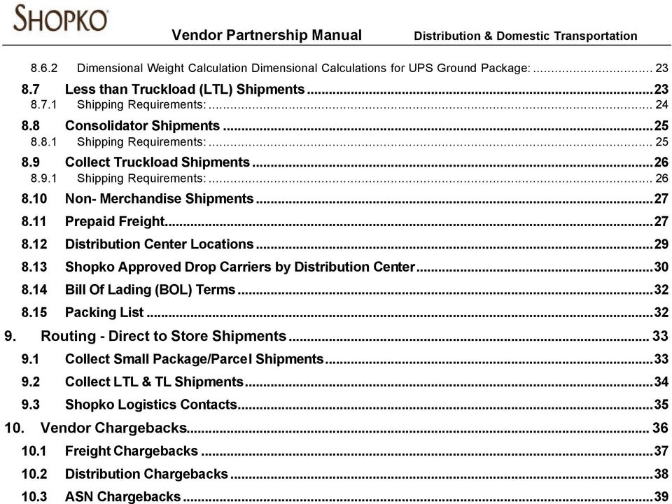 ..29 8.13 Shopko Approved Drop Carriers by Distribution Center...30 8.14 Bill Of Lading (BOL) Terms...32 8.15 Packing List...32 9. Routing - Direct to Store Shipments... 33 9.