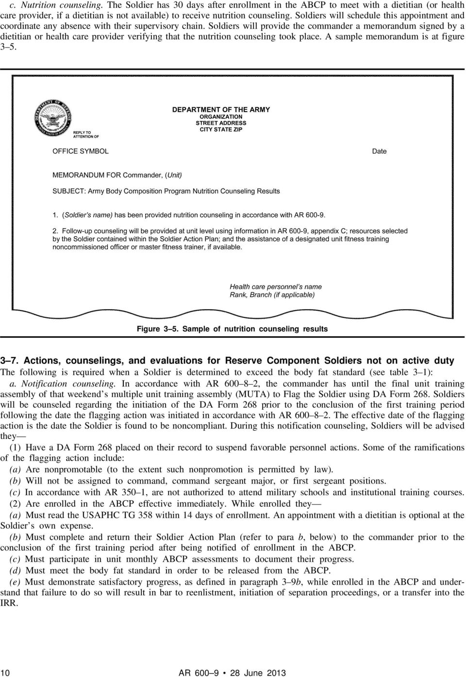 Soldiers will provide the commander a memorandum signed by a dietitian or health care provider verifying that the nutrition counseling took place. A sample memorandum is at figure 3 5. Figure 3 5.