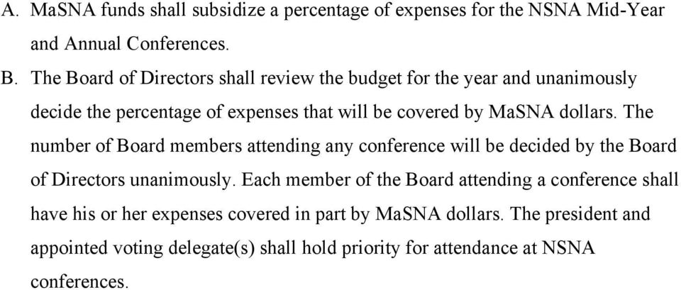 dollars. The number of Board members attending any conference will be decided by the Board of Directors unanimously.