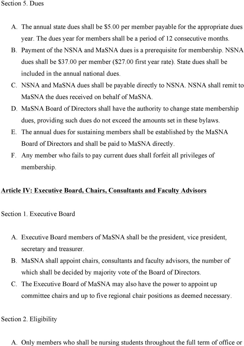 NSNA and MaSNA dues shall be payable directly to NSNA. NSNA shall remit to MaSNA the dues received on behalf of MaSNA. D.