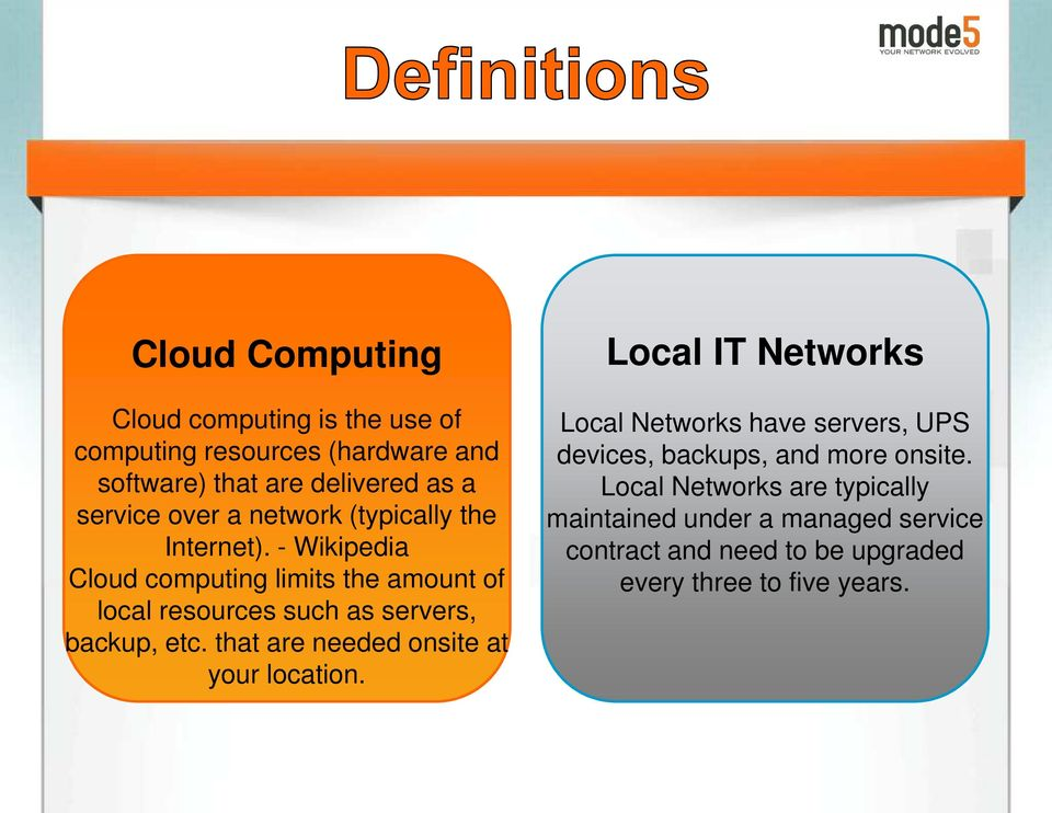 - Wikipedia Cloud computing limits the amount of local resources such as servers, backup, etc.