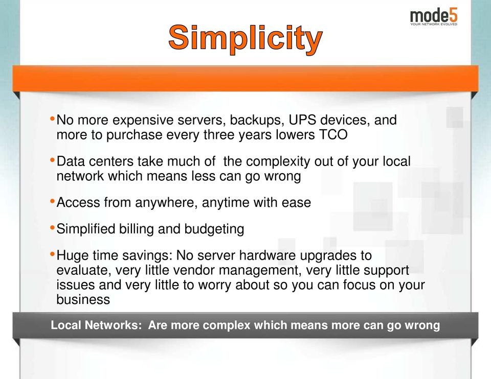 and budgeting Huge time savings: No server hardware upgrades to evaluate, very little vendor management, very little support