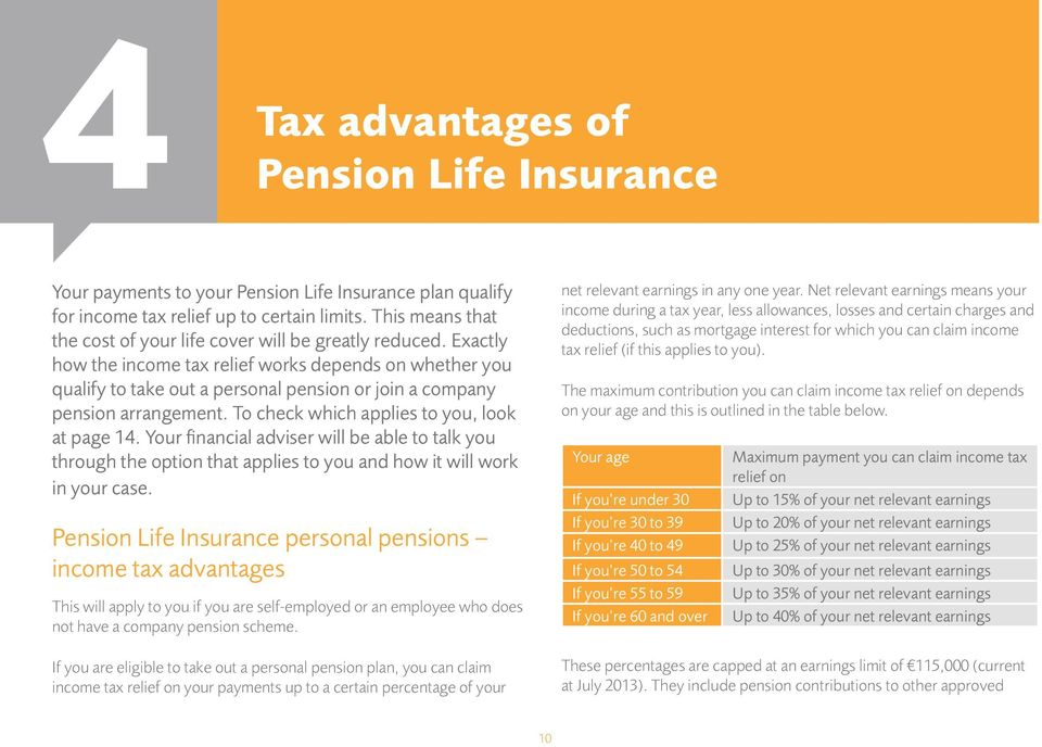 Exactly how the income tax relief works depends on whether you qualify to take out a personal pension or join a company pension arrangement. To check which applies to you, look at page 14.