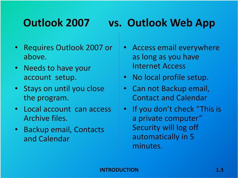 Backup email, Contacts and Calendar Access email everywhere as long as you have Internet Access No local profile