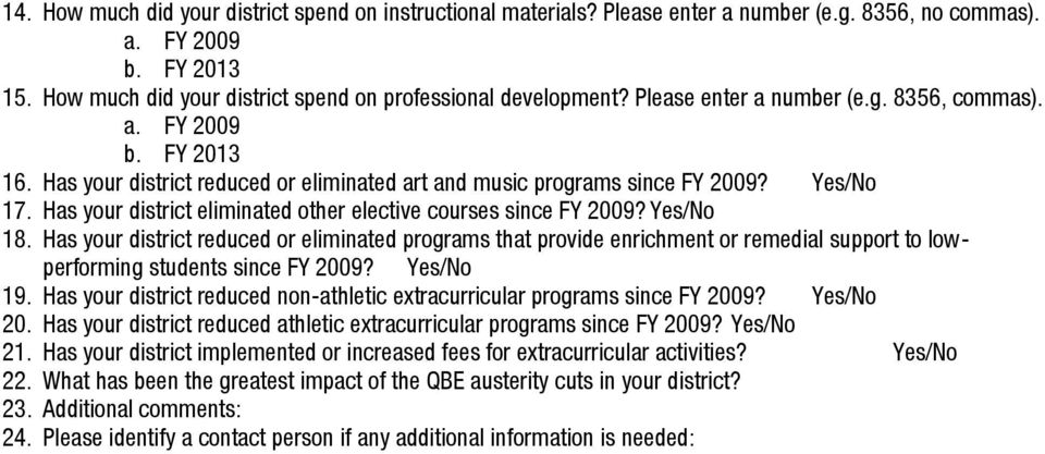 Has your district eliminated other elective courses since FY 2009? Yes/No 18.