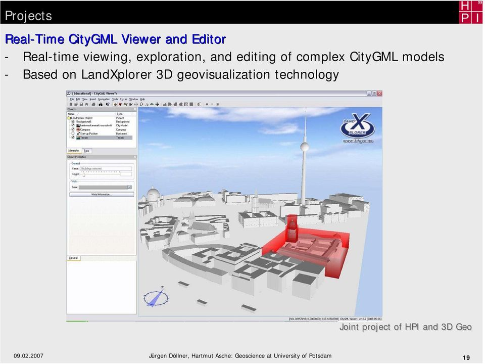 LandXplorer 3D geovisualization technology Joint project of HPI and 3D