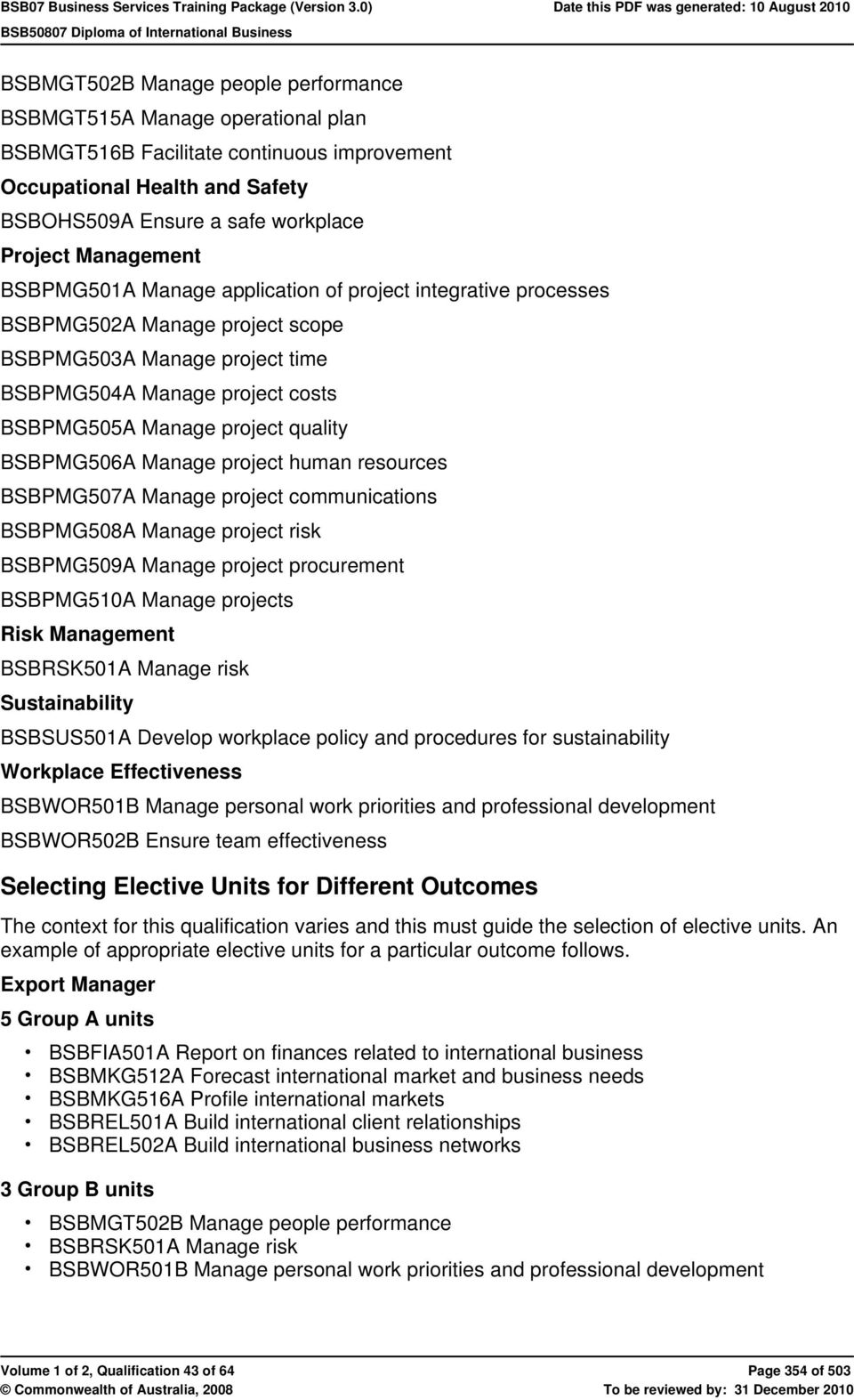 quality BSBPMG506A Manage project human resources BSBPMG507A Manage project communications BSBPMG508A Manage project risk BSBPMG509A Manage project procurement BSBPMG510A Manage projects Risk