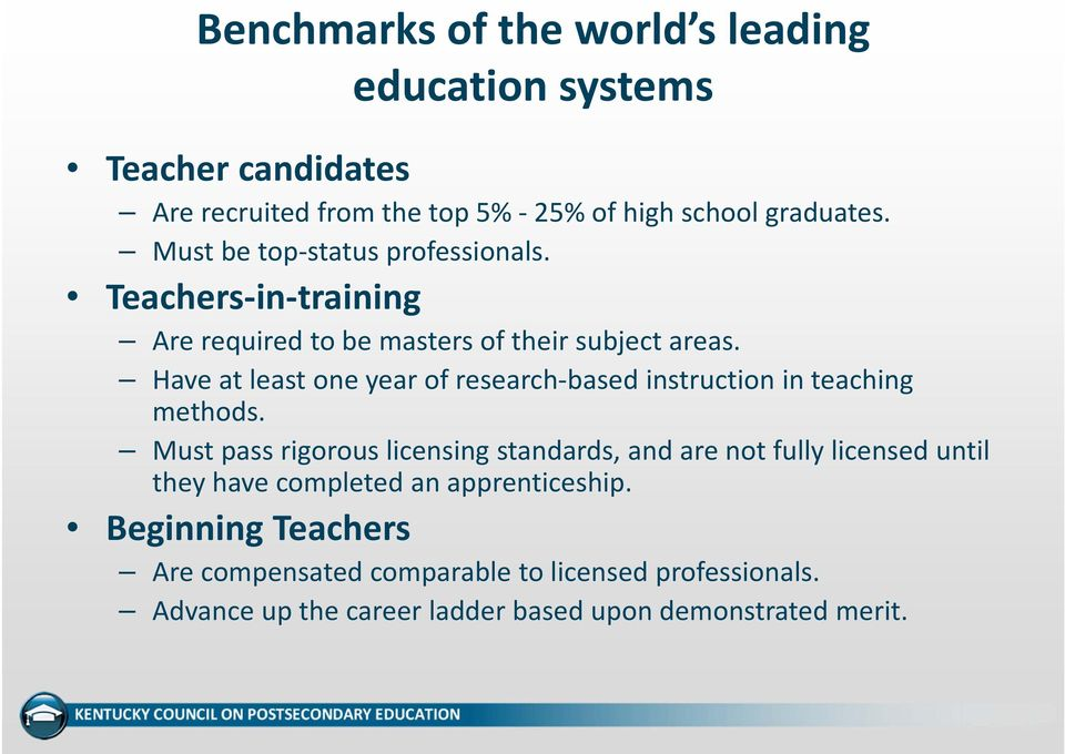 Have at least one year of research based instruction in teaching methods.
