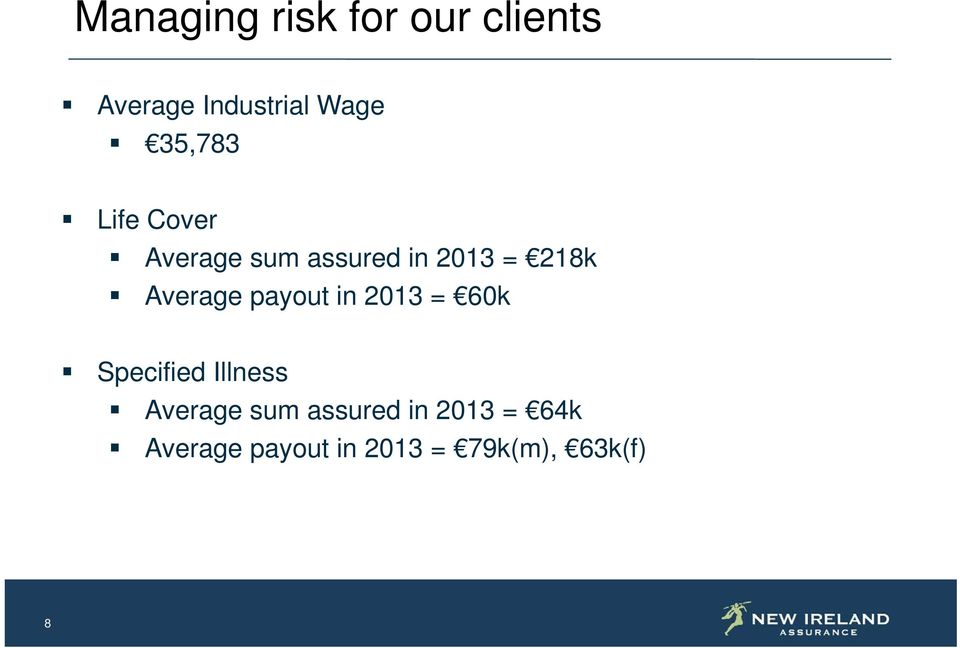 Average payout in 2013 = 60k Specified Illness Average