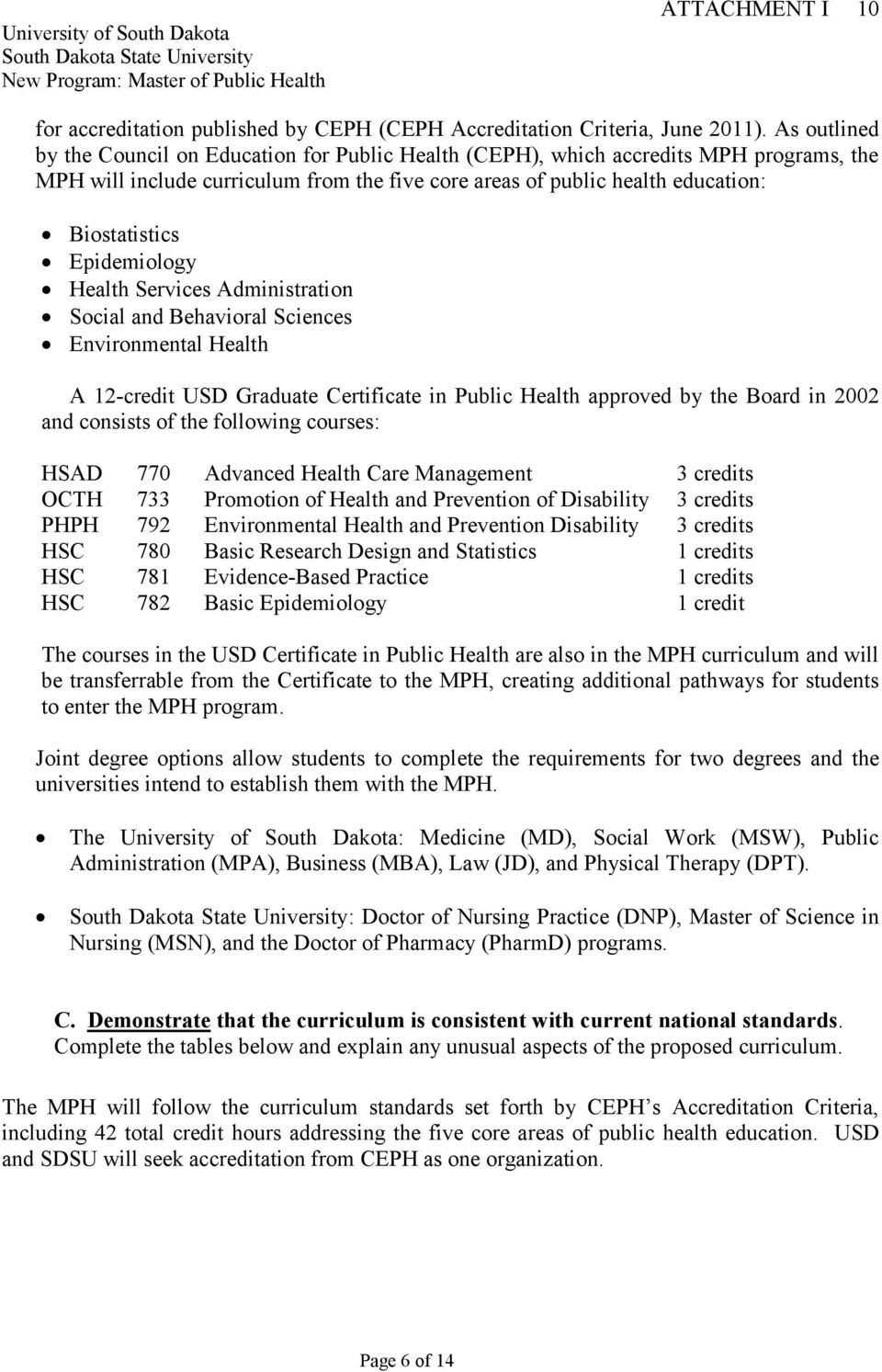 Epidemiology Health Services Administration Social and Behavioral Sciences Environmental Health A 12-credit USD Graduate Certificate in Public Health approved by the Board in 2002 and consists of the