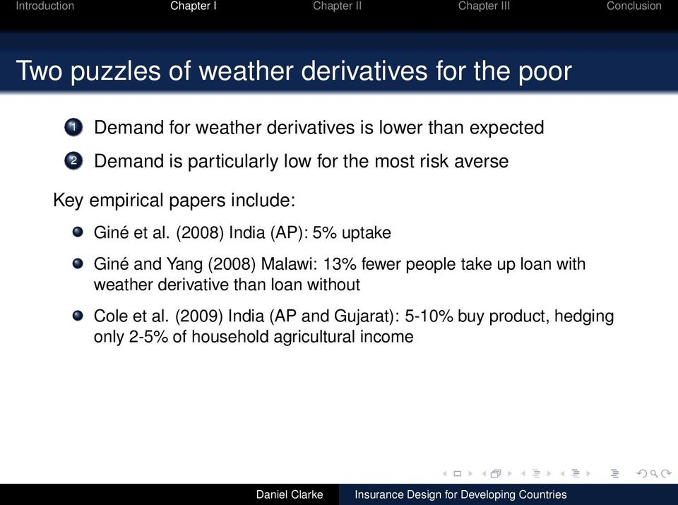 (2008) India (AP): 5% uptake Giné and Yang (2008) Malawi: 13% fewer people take up loan with weather