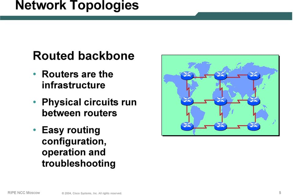 circuits run between routers Easy