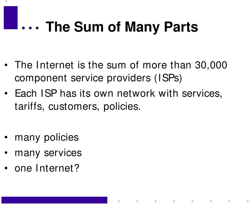 ISP has its own network with services, tariffs,