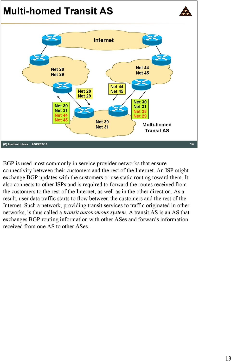 An ISP might exchange BGP updates with the customers or use static routing toward them.