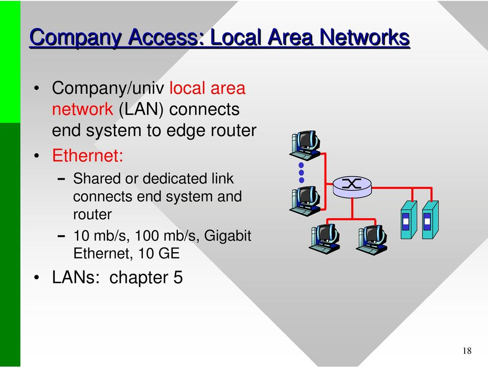 Ethernet: Shared or dedicated link connects end system and