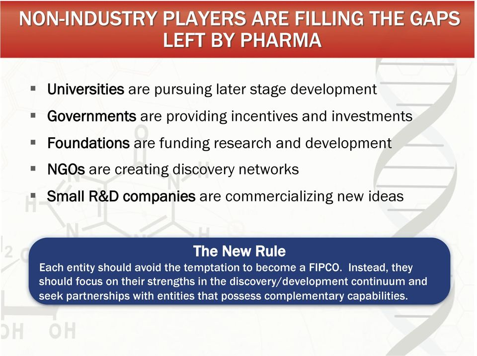 ideas The New Rule Each entity should avoid the temptation to become a FIPCO.