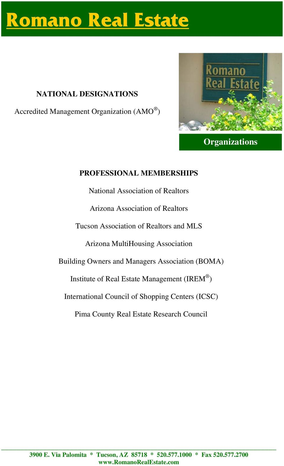 Arizona MultiHousing Association Building Owners and Managers Association (BOMA) Institute of Real Estate